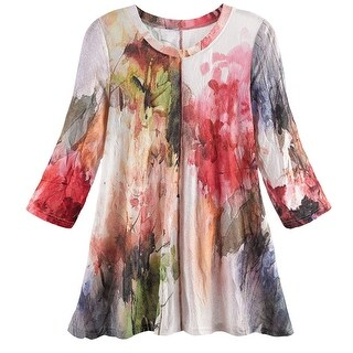 Women's Tunic Top - Watercolor Garden Blouse with 3/4 Sleeves (More options available)