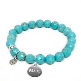 Lucy Turquoise Magnesite Peace Charm Stretch Bracelet, Sterling Silver