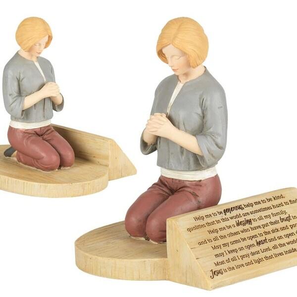 """7"""" Kneeling Woman Prayer Resin Figurine - N/A"""