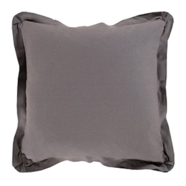 "20"" Dark Gray Flanged Trim Decorative Throw Pillow - Down Filler"