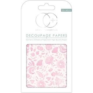 Craft Consortium Decoupage Papers 13.75X15.75 3//Pkg-Floral Notes White