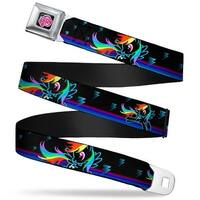 My Little Pony Logo Full Color Black Pink Rainbow Dash Pose Lightning Bolts Seatbelt Belt