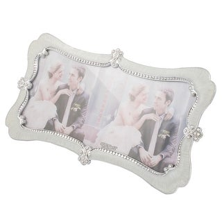Unique Bargains Desktop Display Plastic Shell Faux Pearl Decor Picture Frame for Wedding Photos