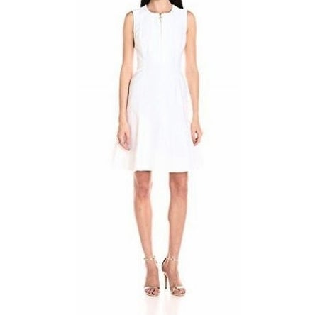 Calvin Klein NEW White Women Size 2 Sheath Zip-Front Fit & Flare Dress