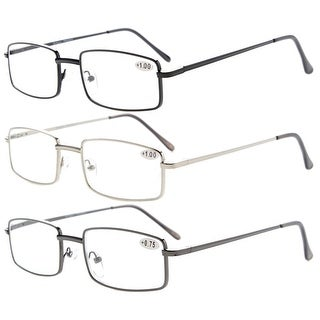 334caed81760 Shop 3-pack Eyekepper Readers Rectangular Spring Temple Medium Metal  Reading Glasses Men Women +3.0 - Free Shipping On Orders Over  45 -  Overstock - ...
