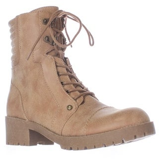 G by GUESS Meara Motorcycle Lace Up Lug Sole Booties - Dark Natural
