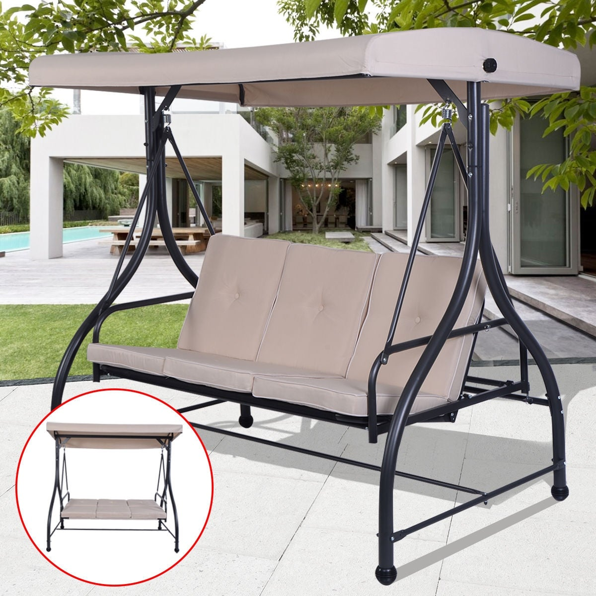 chair bench buy hanging cup products porch hive swing buyhive courtyard holder deck wood patio w