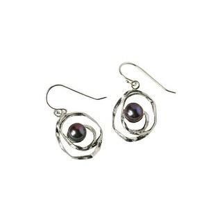 Women's Pearl Earrings - Peacock Pearls in Sterling Silver Swirls