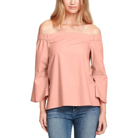 Jessica Simpson Womens Pauline Pullover Top Cotton Off-The-Shoulder