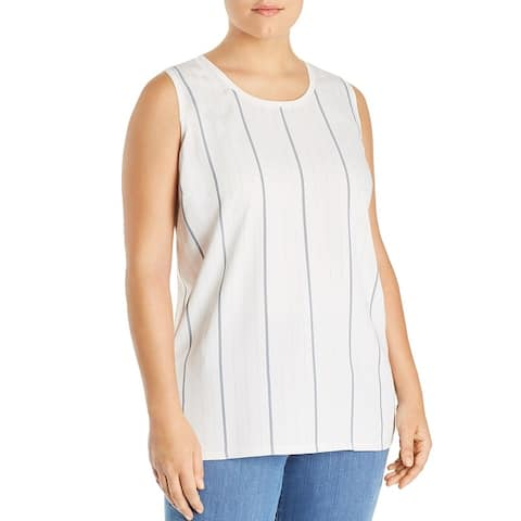 Vince Camuto Womens Sportswear Shell Striped Mixed Media - Pearl Ivory