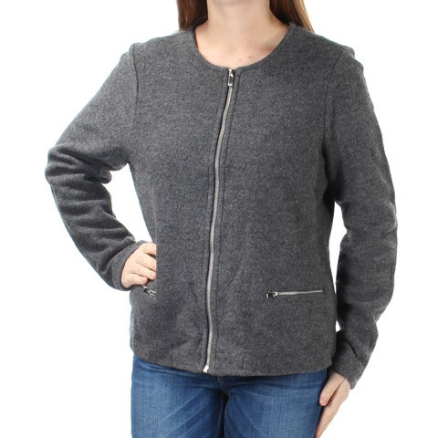 CHARTER CLUB Womens Gray Zip Up Jacket Size: M