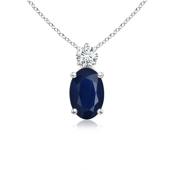 Angara Oval Sapphire Diamond Necklace in Rose Gold 5sGVAsC