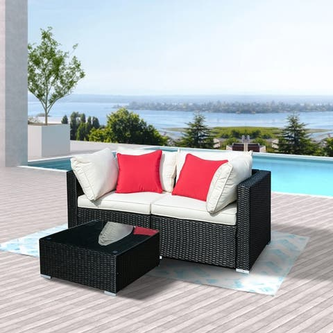 Ainfox 3pcs Outdoor Rattan Sectional Sofa- Patio Wicker Furniture Set