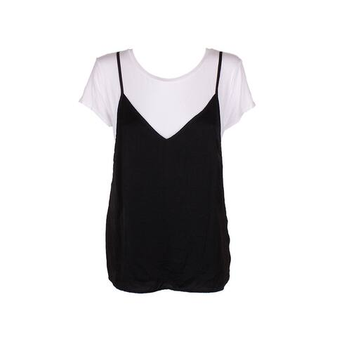 Sanctuary Black White Shay Short Sleeve Layered Look T-Shirt With Faux Cami S