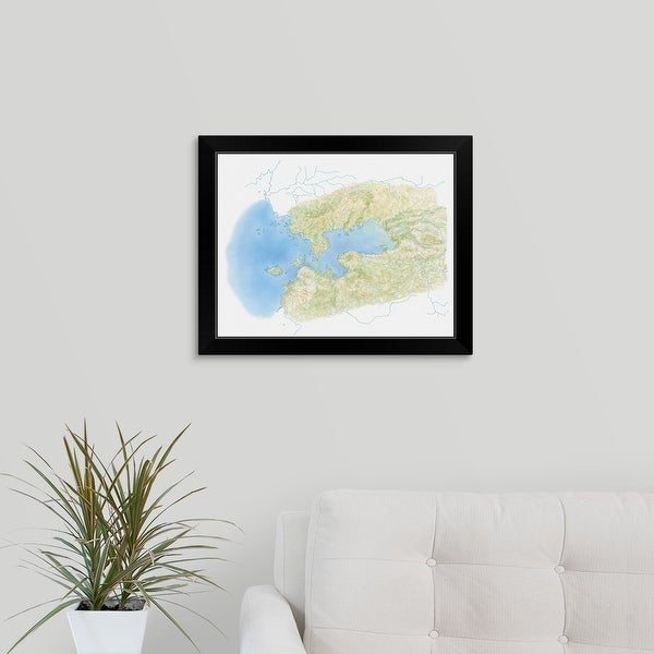 """""""Illustration of Kenya's Lake Victoria on map"""" Black Framed Print"""