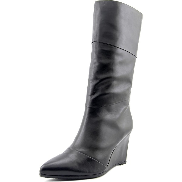 Nicole Miller Katie 2 Women Pointed Toe Leather Mid Calf Boot