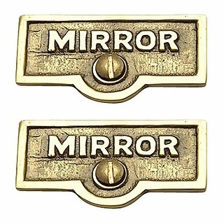 2 Switch Plate Tags MIRROR Name Signs Labels Lacquered Brass Renovator's Supply