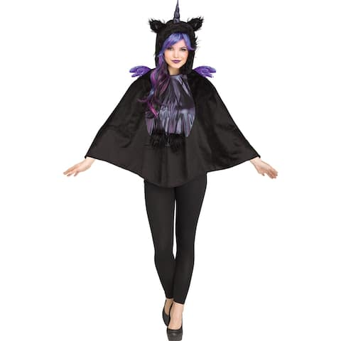 Adult Dark Unicorn Hooded Poncho Costume size 4-14 - Standard - One Size