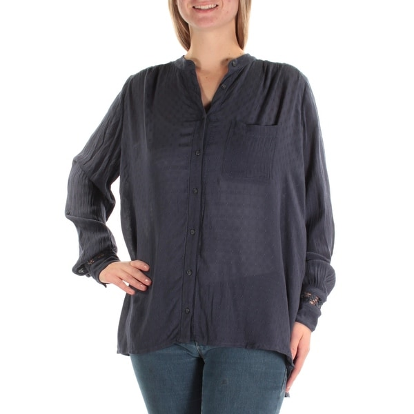 94b250316eea09 Shop FREE PEOPLE Womens Navy Embroidered Eyelet Long Sleeve Button Up Top  Size: S - On Sale - Free Shipping On Orders Over $45 - Overstock - 22642510