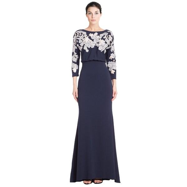 Shop Badgley Mischka Cutout Lace Blouson 3 4 Sleeve