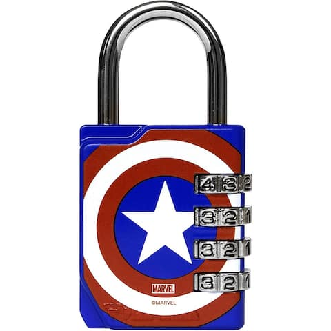 Performa Ultra Premium Embossed 4-Dial Combination Gym Lock - Captain America - One Size