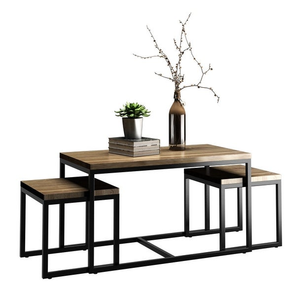 Shop costway 3 piece nesting coffee end table set wood - Three piece living room table set ...