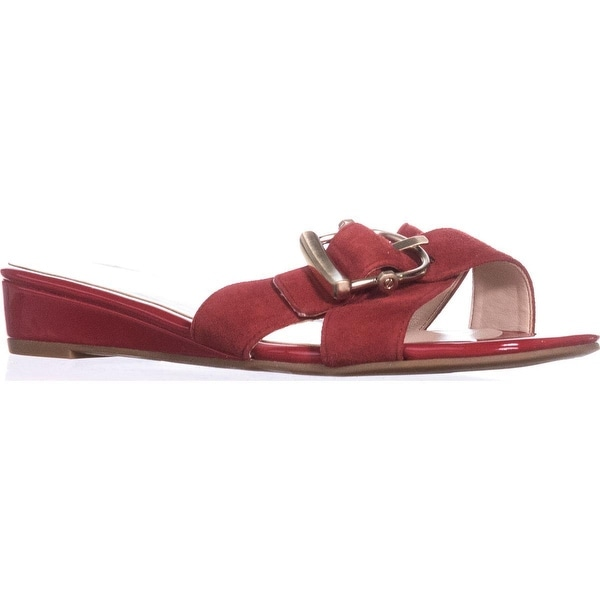 Nine West Tiggy Low Heel Wedge Sandals, Red Suede