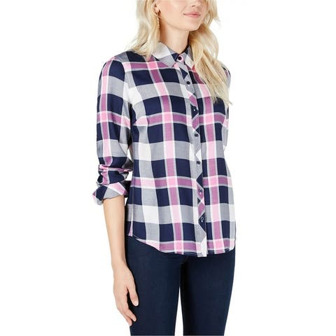 Maison Jules Womens Plaid Relaxed Fit Button Up Shirt