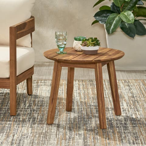 """Brooklyn Outdoor Acacia Wood Side Table by Christopher Knight Home - 22.00"""" L x 22.00"""" W x 18.00"""" D"""