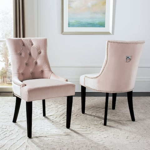 """Safavieh Harlow 19''H Tufted Ring Chair - Silver Nail Heads (Set of 2) - 22"""" x 25.6"""" x 36.4"""" - 22"""" x 25.6"""" x 36.4"""""""