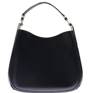 Salvatore Ferragamo Womens Kittie Leather Metal Frame Hobo Handbag - oxford blue calf - Large