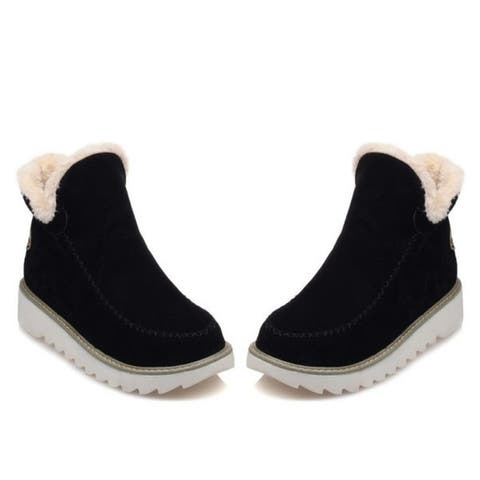Fashion Women Boots Slip-On Fashion Women Snow Boot Shoes Round Toe Ankle Snow Boots