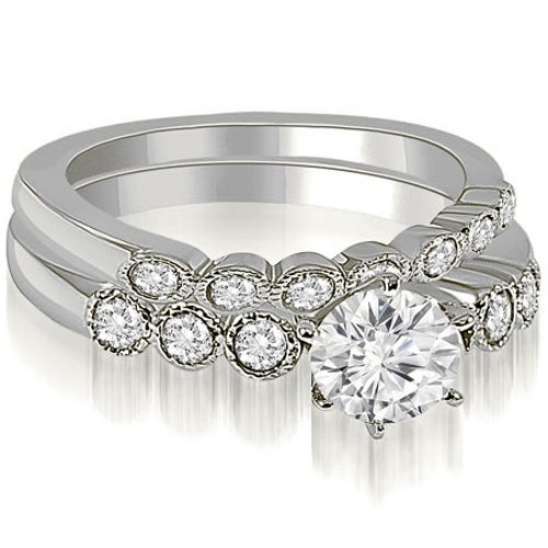 0.91 cttw. 14K White Gold Vintage Milgrain Round Cut Diamond Bridal Set