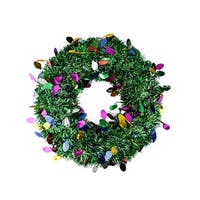 "19"" Festive Green Artificial Christmas Tinsel Wreath - Unlit"