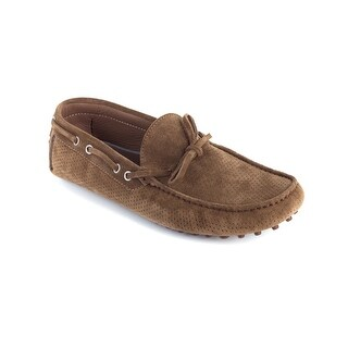 Brunello Cucinelli Mens Brown Suede Perforated Moccasins