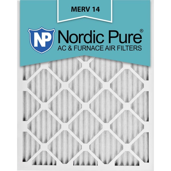 shop nordic pure 12x20x1 pleated merv 14 ac furnace air filters qty ...