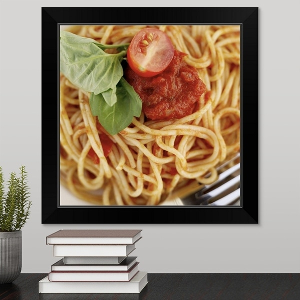 """""""close-up of spaghetti garnished with basil"""" Black Framed Print"""