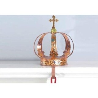 """9.5"""" Copper and Gold Royal Crown Christmas Stocking Holder"""