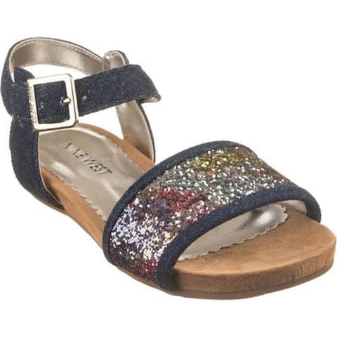d2060e892ad Nine West Kids Girls  Tasyah Ankle Strap Sandal Dark Blue Denim Multi  Glitter