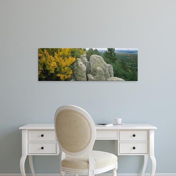Easy Art Prints Panoramic Image 'View of rock formations in a forest, Black River Forest, Wisconsin, USA' Canvas Art