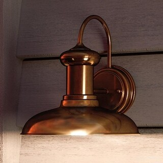 """Luxury Industrial Chic Outdoor Wall Light, 10.75""""H x 10""""W, with Nautical Style Elements, Solid Copper Finish by Urban Ambiance"""