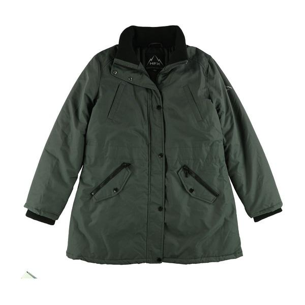 Halifax Womens Faux-Fur-Trim Water-Resistant Parka Coat, grey, X-Large. Opens flyout.
