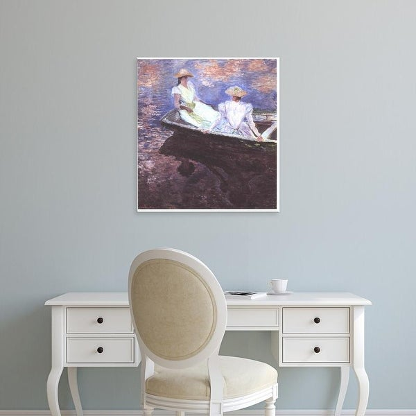 Easy Art Prints Claude Monet's 'Two girls in a boat' Premium Canvas Art