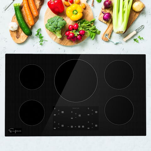 Built-In 36 in. Electric Induction Cooktop in Black with 5 of Elements including Simmer Element - 36""