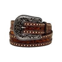 Blazin Roxx Western Belt Womens Tooled Buck Stitching Rope Tan