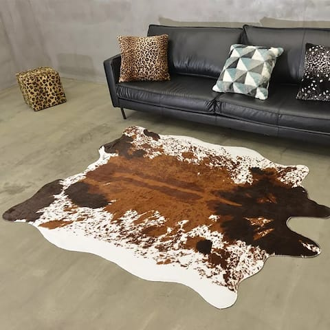 Airi Home Dakota Faux Cowhide Area Rug - 5' Ft x 6'6 Ft - 5' x 6.6' - 5' x 6.6'