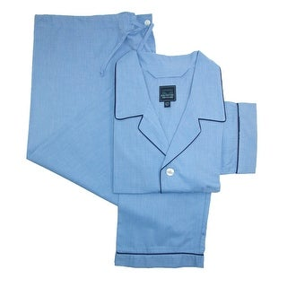 Majestic International Big and Tall Cotton Long Sleeve Pant Pajama Set - Blue