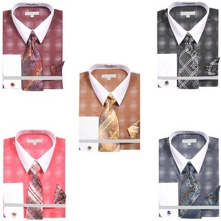 Men's Diamond Starburst Dress Shirt with Tie Handkerchief Cufflinks