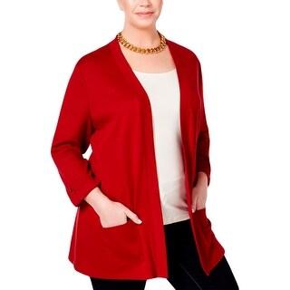 Karen Scott Womens Plus Cardigan Top Tab Sleeve Cotton - 1x
