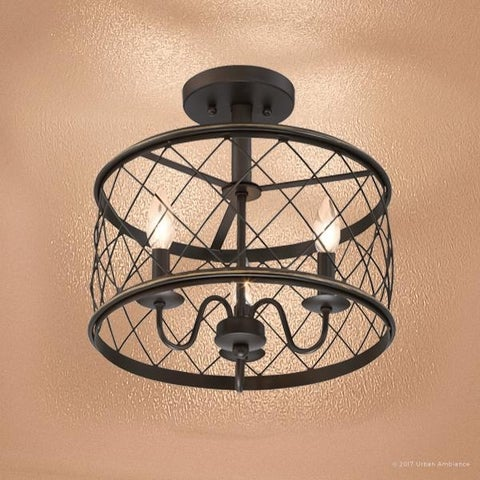 """Luxury French Country Semi-Flush Ceiling Light, 14.5""""H x 15""""W, with Shabby Chic Style, Parisian Bronze Finish"""